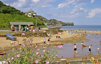 Breath of fresh air: Nearby Sandsend boasts a beautiful beach