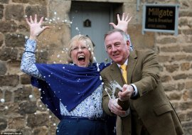 Sue and Andrew Burrell celebrate their B&B, Millgate in Masham, North Yorkshire, being named the best B&B in the world by TripAdvisor