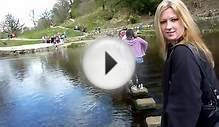 Crossing the stepping stones at Bolton Abbey